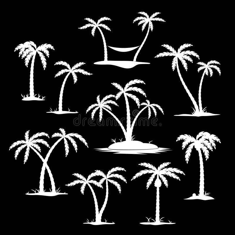 De pictogrammen van het kokospalmsilhouet stock illustratie