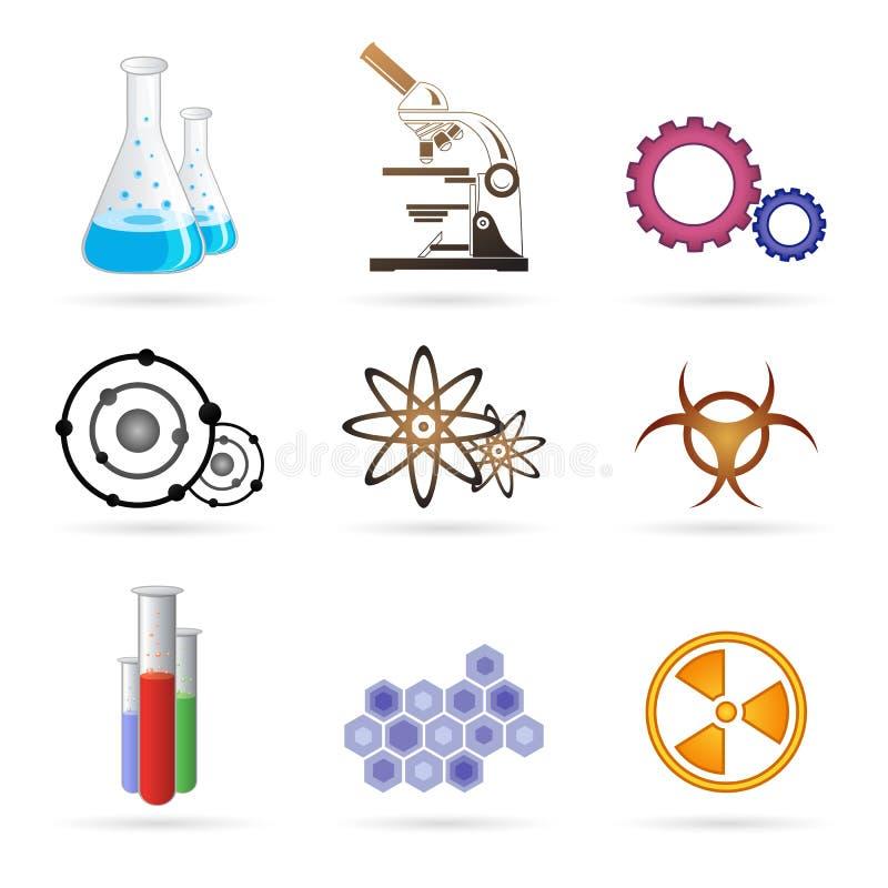 De pictogrammen van het laboratorium stock illustratie