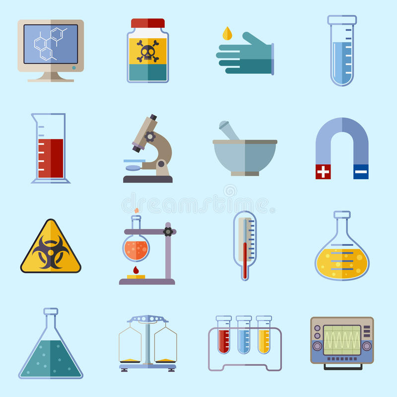 De pictogrammen van het laboratoriummateriaal stock illustratie
