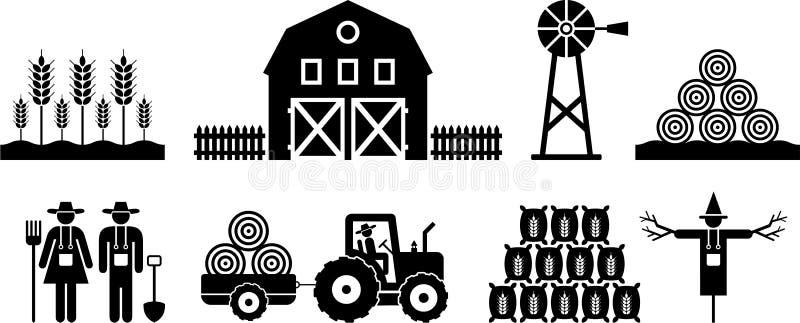 De pictogrammen van het landbouwbedrijf vector illustratie