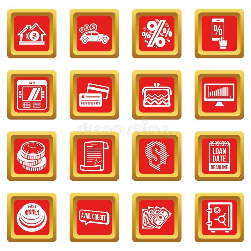 Download De Pictogrammen Van Het Leningskrediet Geplaatst Rode Vierkante Vector Vector Illustratie - Illustratie bestaande uit bank, geïsoleerd: 114225628