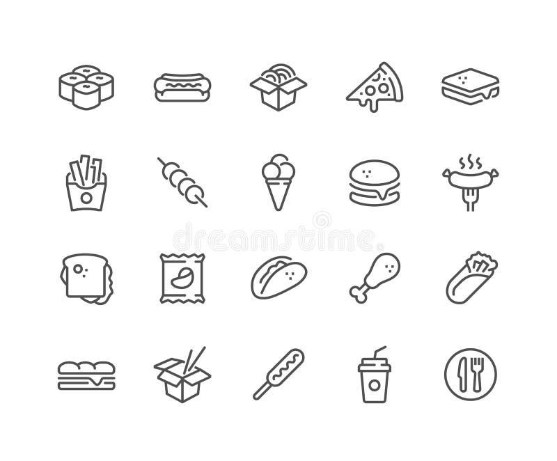 De Pictogrammen van het lijn Snelle Voedsel royalty-vrije illustratie