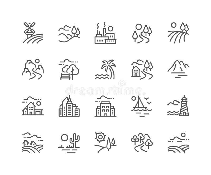 De Pictogrammen van het lijnlandschap royalty-vrije illustratie
