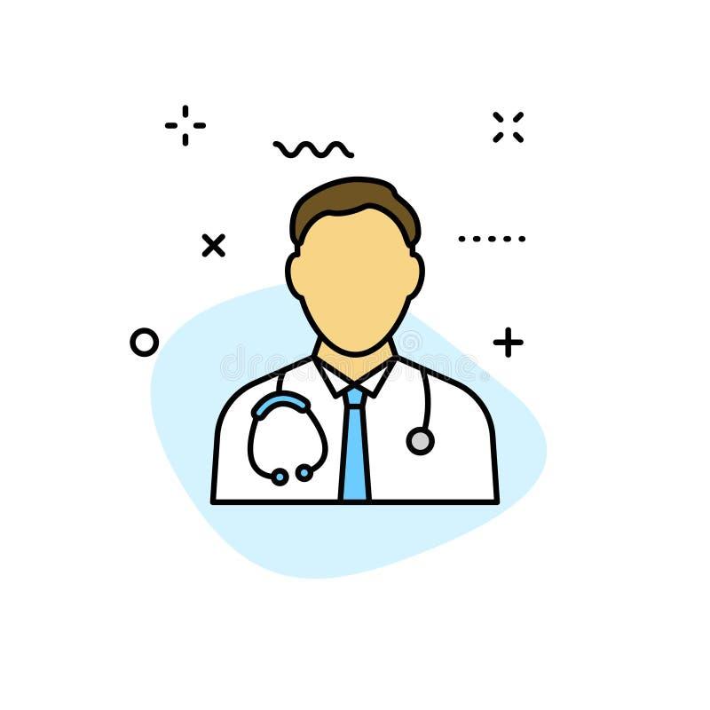 De pictogrammen van het medische en Gezondheidsweb in lijnstijl Geneeskunde en Gezondheidszorg, infographic RX, Vector illustrati stock illustratie