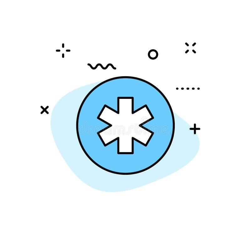 De pictogrammen van het medische en Gezondheidsweb in lijnstijl Geneeskunde en Gezondheidszorg, infographic RX, Vector illustrati royalty-vrije illustratie