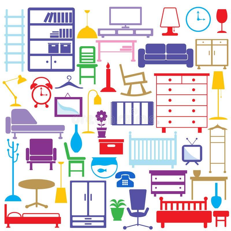 De pictogrammen van het meubilair