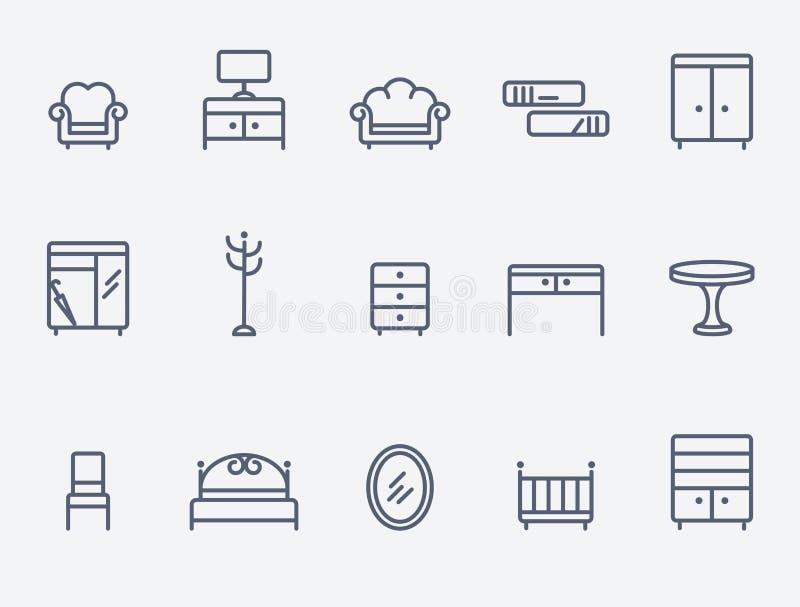 De pictogrammen van het meubilair royalty-vrije illustratie
