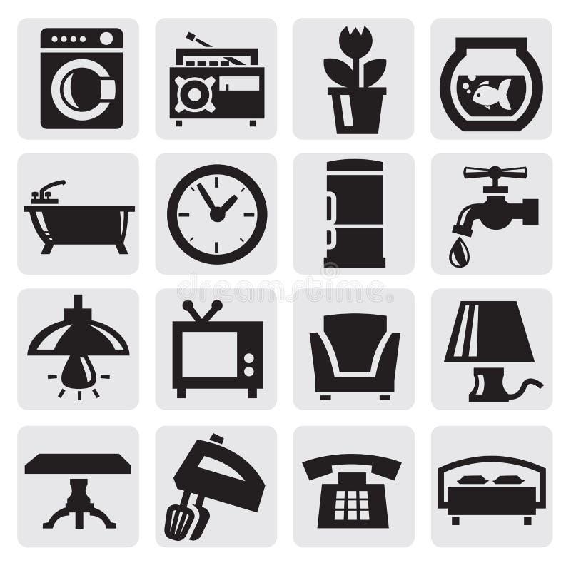 De pictogrammen van het meubilair en van het huis royalty-vrije illustratie