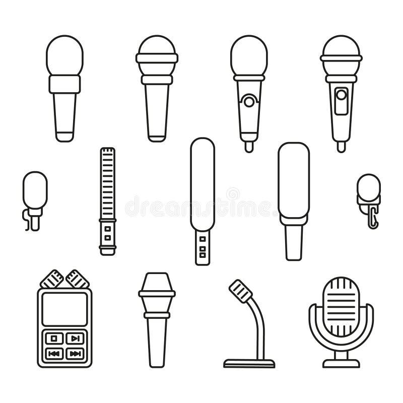 De pictogrammen van het microfoonsoverzicht stock illustratie