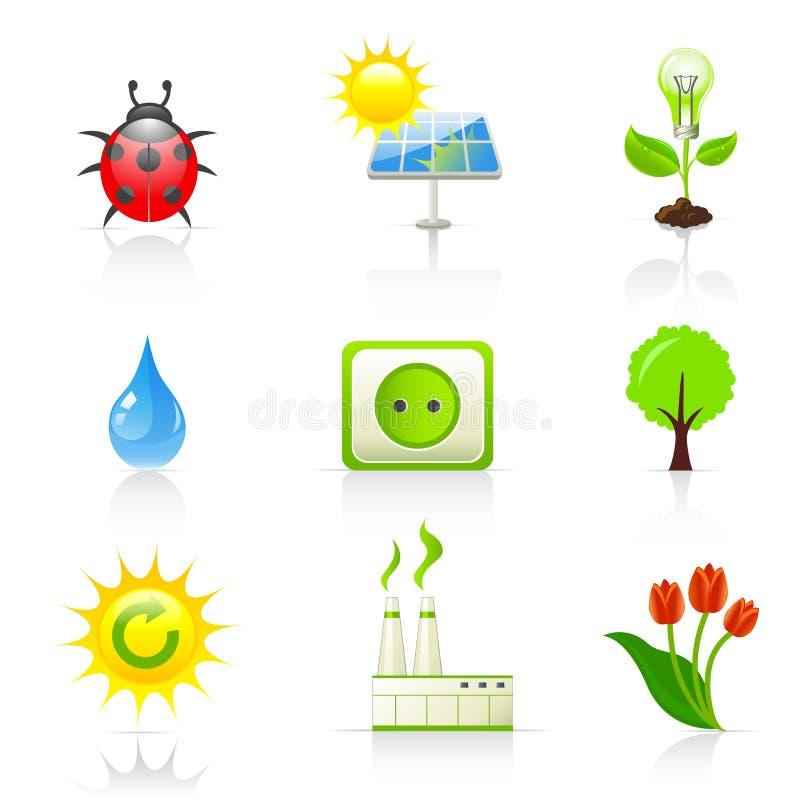 De pictogrammen van het milieu en van de ecologie royalty-vrije illustratie