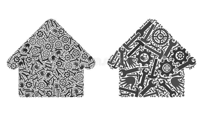 De Pictogrammen van het mozaïekhuis van de Diensthulpmiddelen stock illustratie