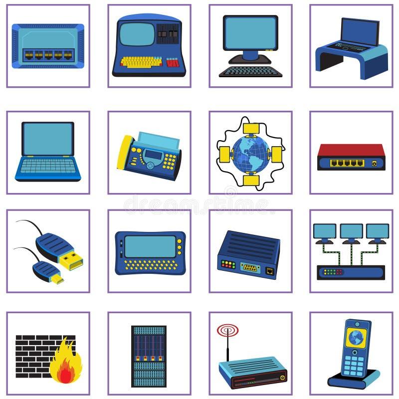 De pictogrammen van het netwerk royalty-vrije illustratie