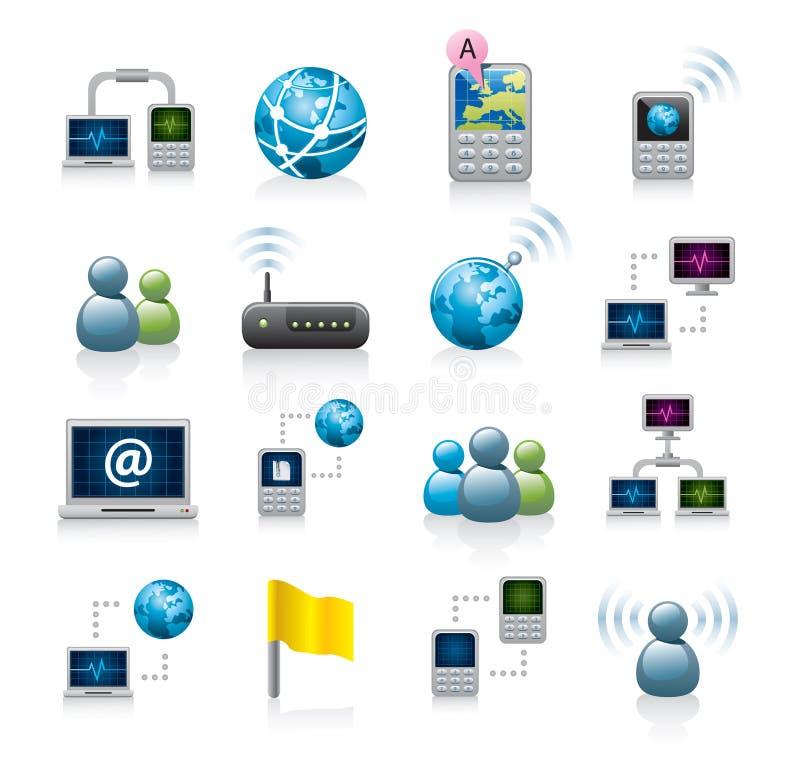 De pictogrammen van het netwerk of van Internet vector illustratie