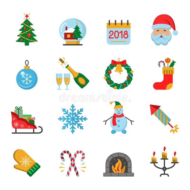 De pictogrammen van het nieuwjaar royalty-vrije illustratie