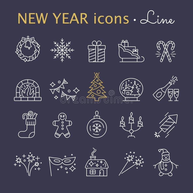 De pictogrammen van het nieuwjaar De elementen van de Kerstmispartij royalty-vrije illustratie