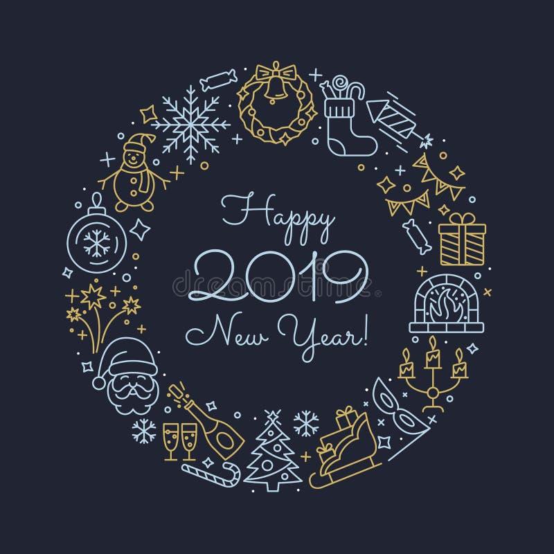 De pictogrammen van het nieuwjaaroverzicht vector illustratie