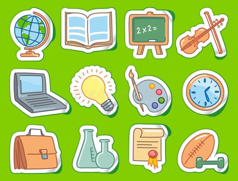 De pictogrammen van het onderwijs op stickers royalty-vrije illustratie