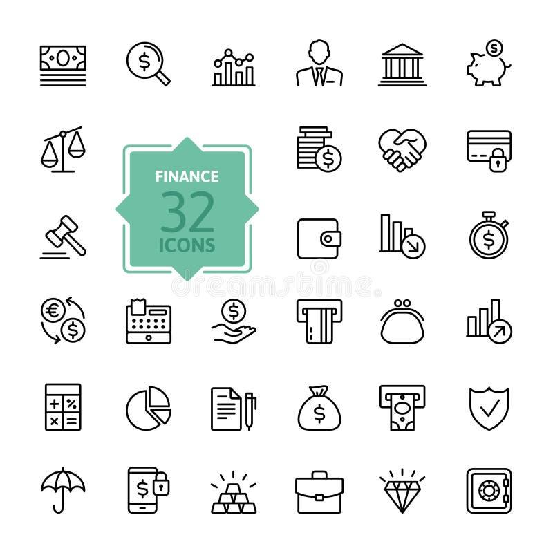 De pictogrammen van het overzichtsweb - geld, financiën, betalingen
