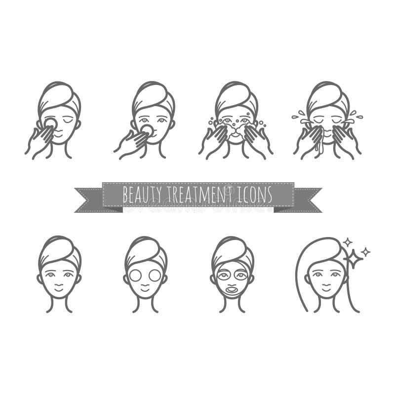 De pictogrammen van het overzichtsweb - schoonheidsbehandeling, gezichtszorg, masker stock illustratie