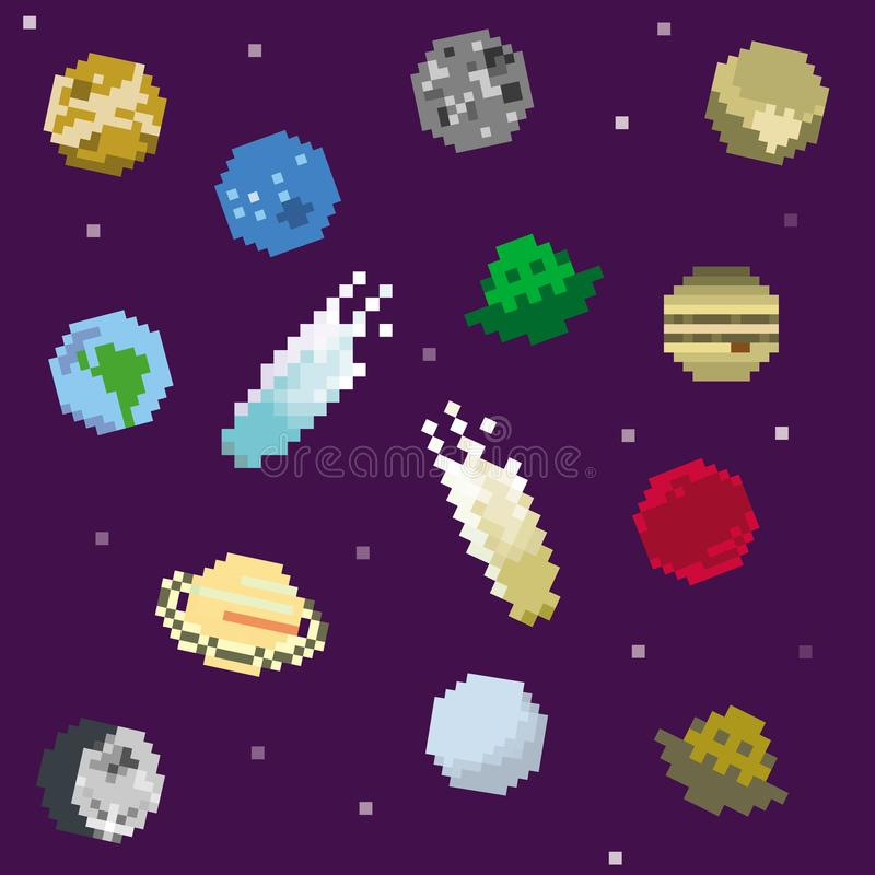 De pictogrammen van het pixelzonnestelsel stock illustratie