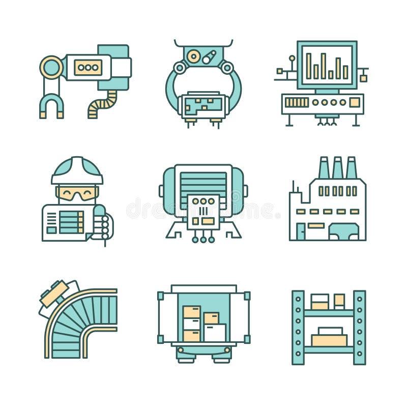 De Pictogrammen van het productieproces vector illustratie