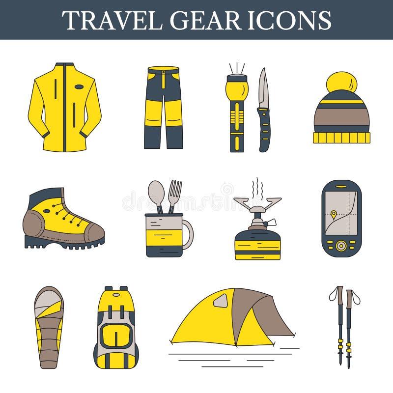 De pictogrammen van het reistoestel Reeks van vectormaterieel voor gebruik buitenshuis Wandeling vector illustratie