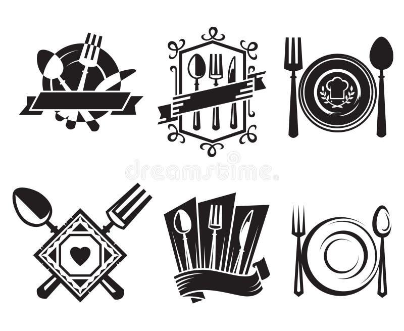De pictogrammen van het restaurant stock illustratie
