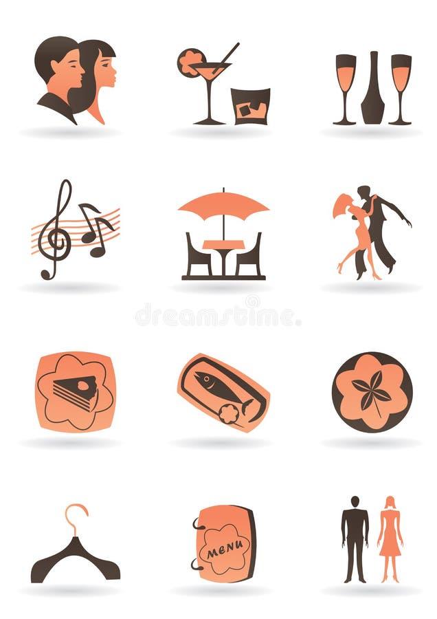 De pictogrammen van het restaurant en van de club royalty-vrije illustratie