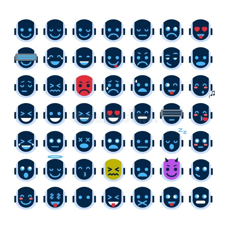 De Pictogrammen van het robotgezicht Geplaatst het Glimlachen Gezichten Verschillende Emotieinzameling Robotachtige Emoji stock illustratie
