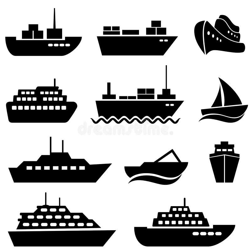 De pictogrammen van het schip en van de boot vector illustratie