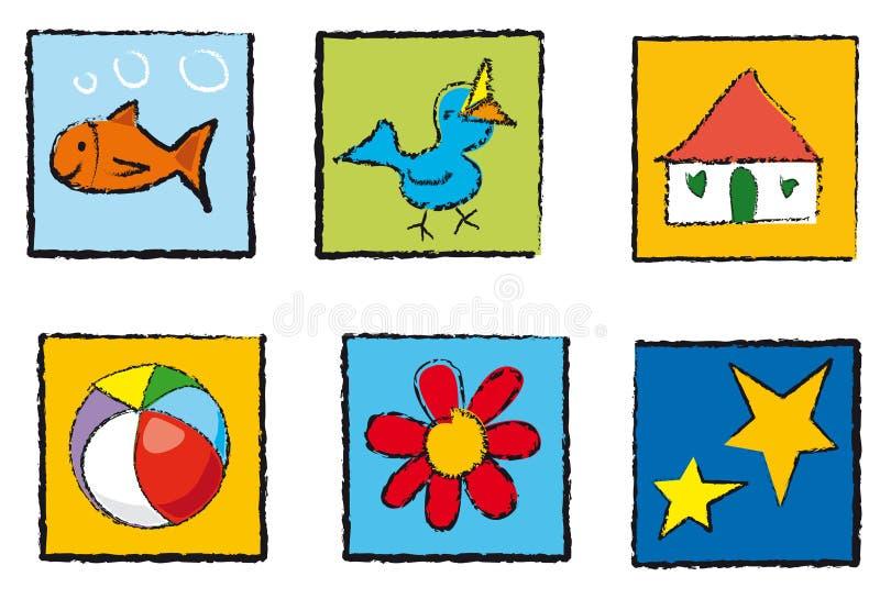 De pictogrammen van het speelgoed vector illustratie