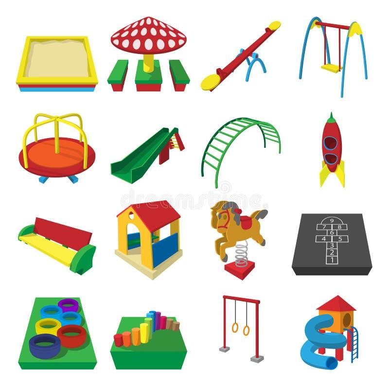De pictogrammen van het speelplaatsbeeldverhaal stock illustratie