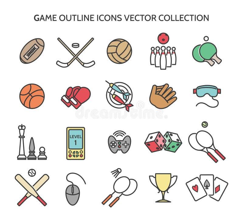 De pictogrammen van het speloverzicht vector illustratie