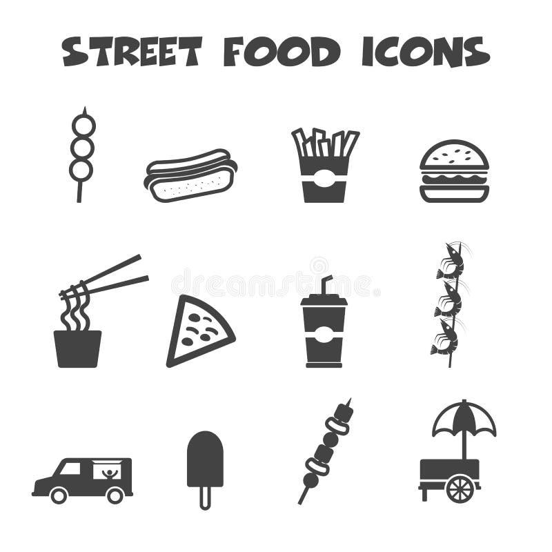De pictogrammen van het straatvoedsel royalty-vrije illustratie