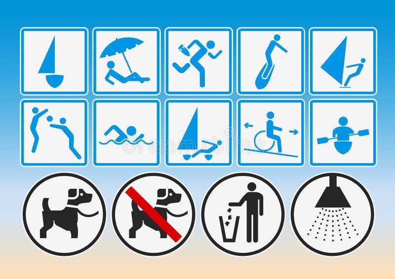 De pictogrammen van het strand vector illustratie