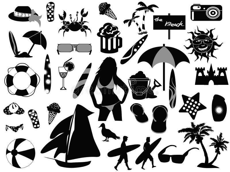 De pictogrammen van het strand op witte achtergrond royalty-vrije illustratie