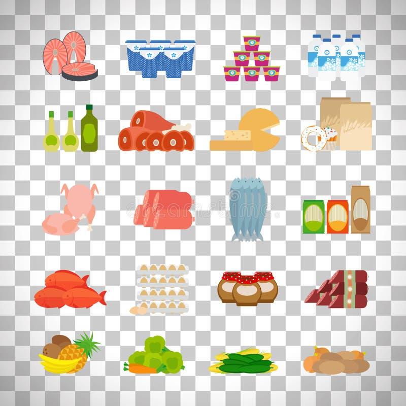 De pictogrammen van het supermarktvoedsel op transparante achtergrond vector illustratie