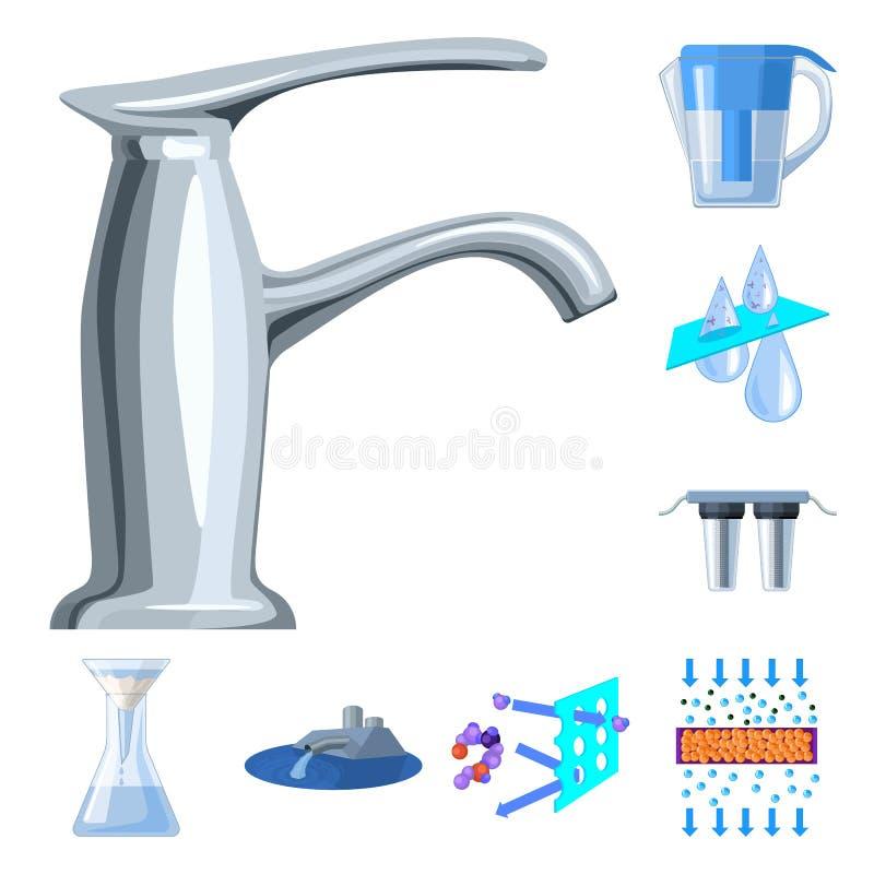 De pictogrammen van het het systeembeeldverhaal van de waterfiltratie in vastgestelde inzameling voor ontwerp Het schoonmaken de  stock illustratie