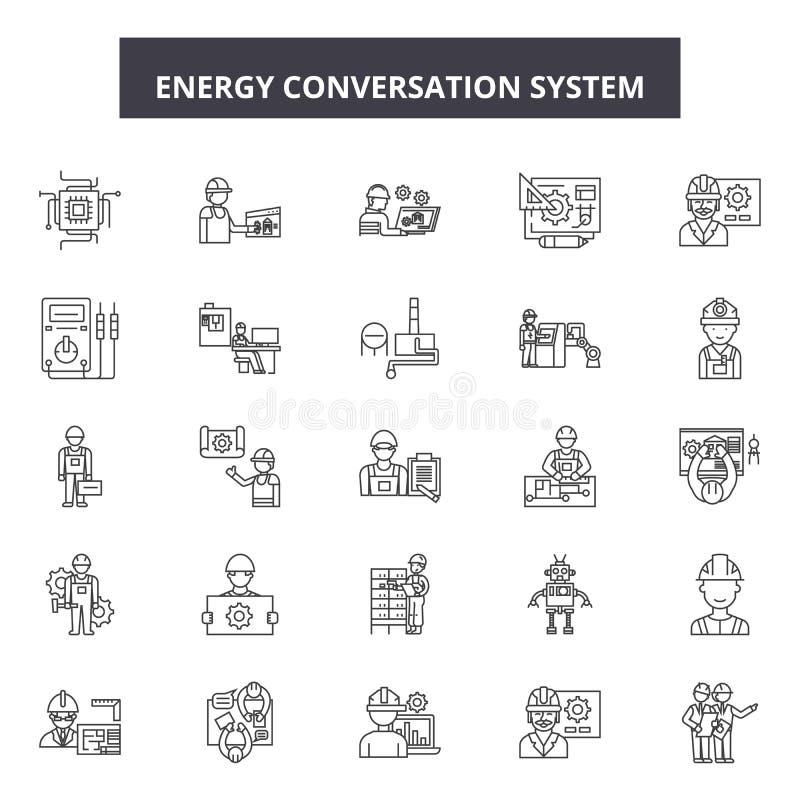 De pictogrammen van de het systeemlijn van het energiegesprek, tekens, vectorreeks, het concept van de overzichtsillustratie vector illustratie