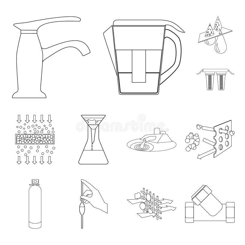 De pictogrammen van het het systeemoverzicht van de waterfiltratie in vastgestelde inzameling voor ontwerp Het schoonmaken de voo royalty-vrije illustratie