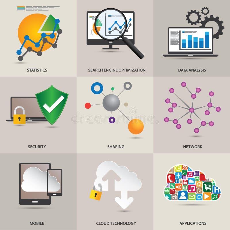 De pictogrammen van het technologieconcept stock illustratie