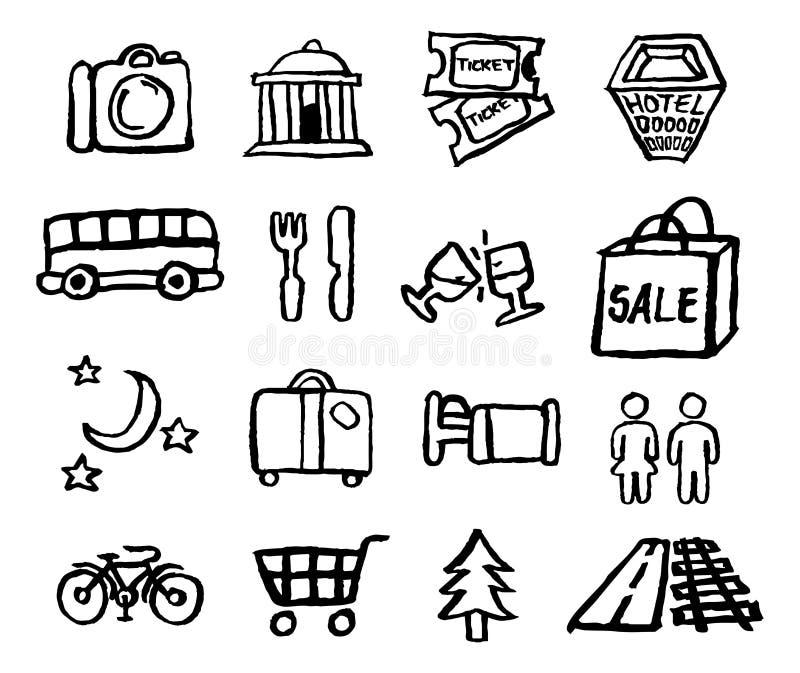 De Pictogrammen van het toerisme en van de Reis vector illustratie