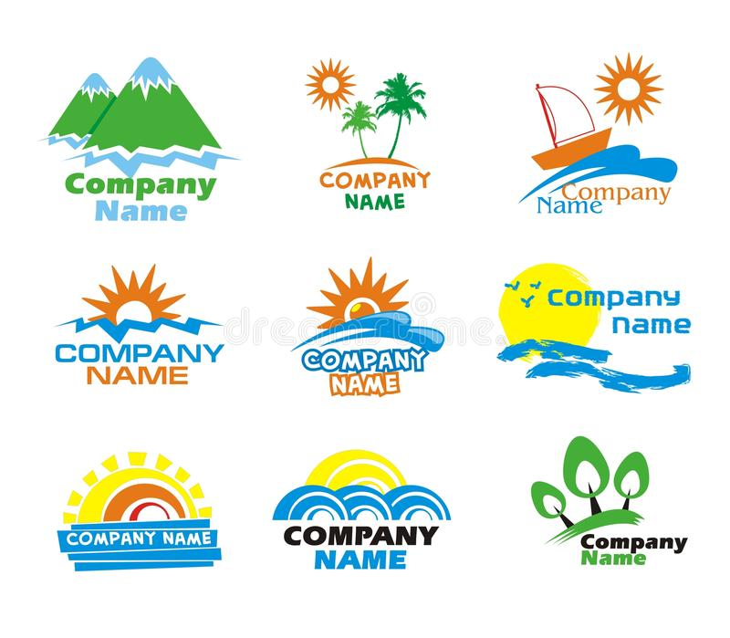 De pictogrammen van het toerisme en van de vakantie en embleemontwerp stock foto's