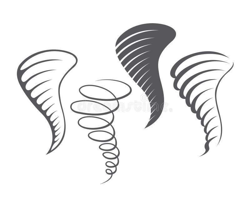 De pictogrammen van het tornadoonweer vector illustratie