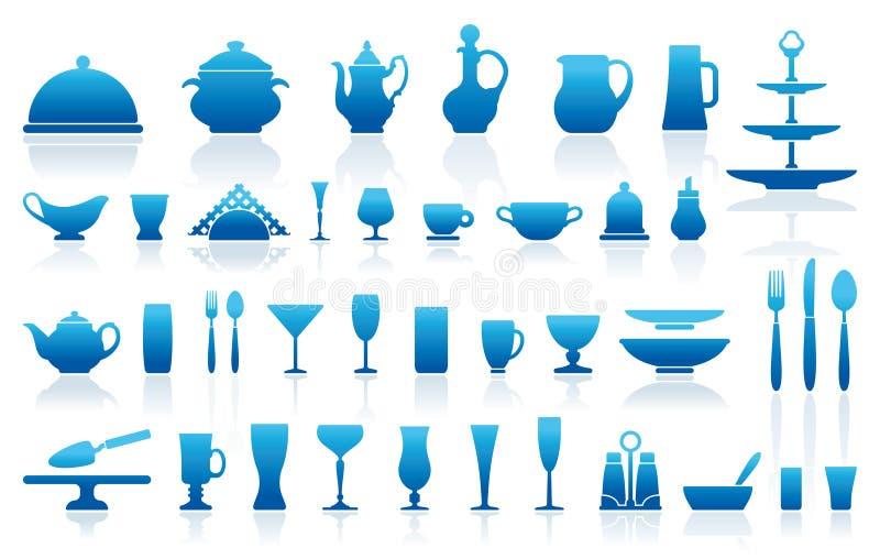 De pictogrammen van het vaatwerk royalty-vrije illustratie