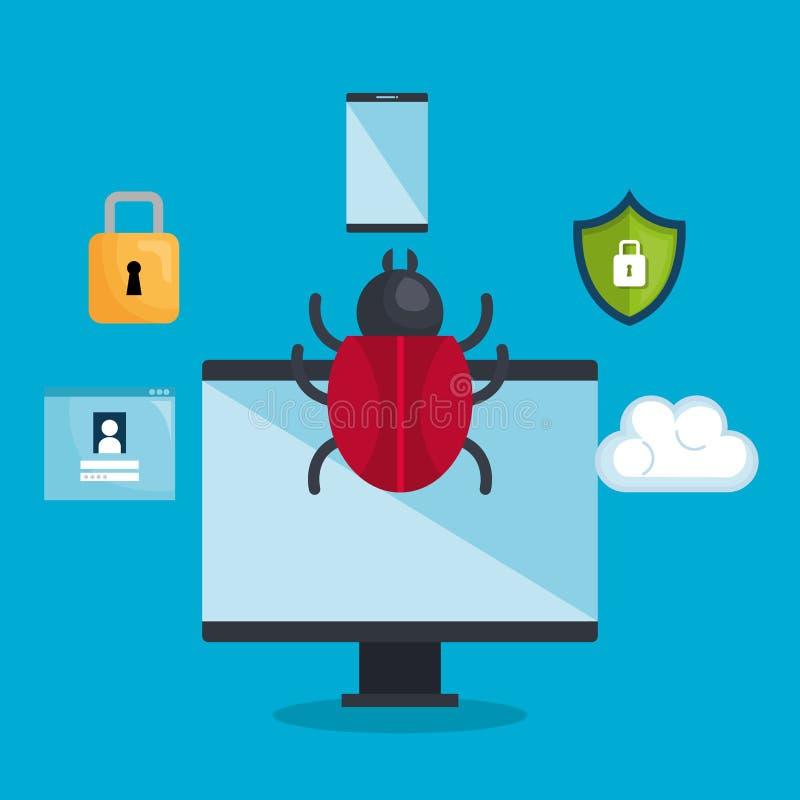 De pictogrammen van het veiligheidssysteemconcept stock illustratie