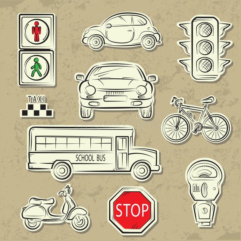 De Pictogrammen van het Verkeer van de stad stock illustratie