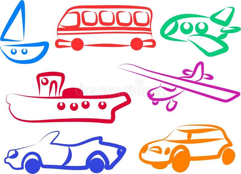 De pictogrammen van het vervoer royalty-vrije illustratie