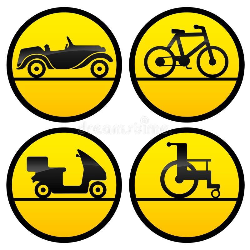 De pictogrammen van het vervoer stock illustratie