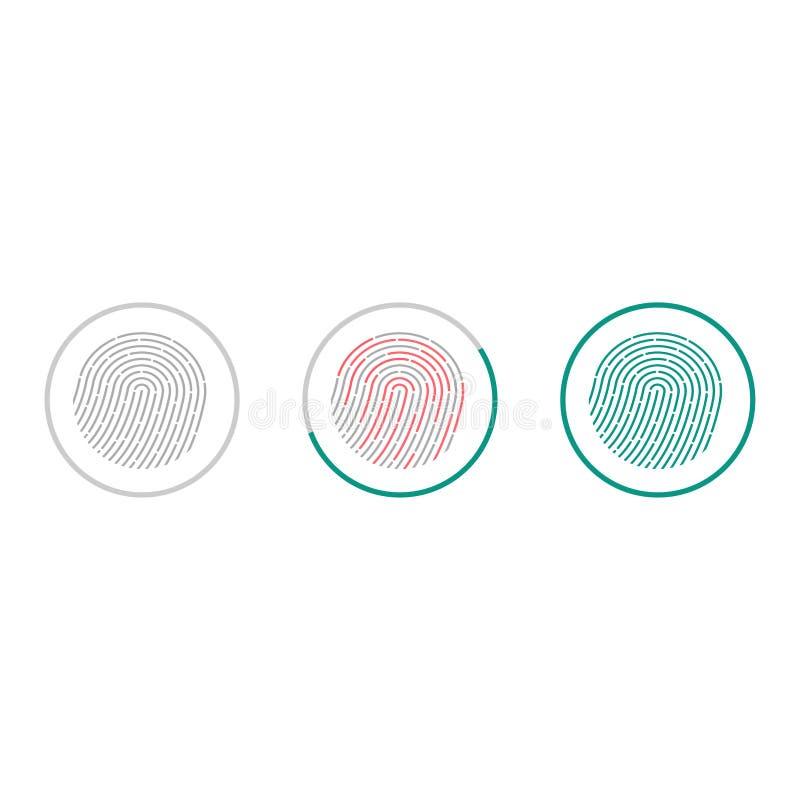 De pictogrammen van het vingerafdrukaftasten op witte achtergrond worden geïsoleerd die Biometrisch vergunningssymbool Vector ill royalty-vrije illustratie